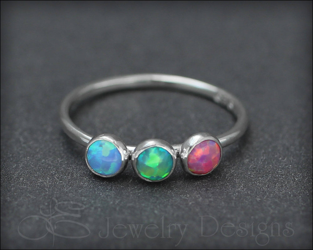 Three Birthstone or Opal Ring - LE Jewelry Designs