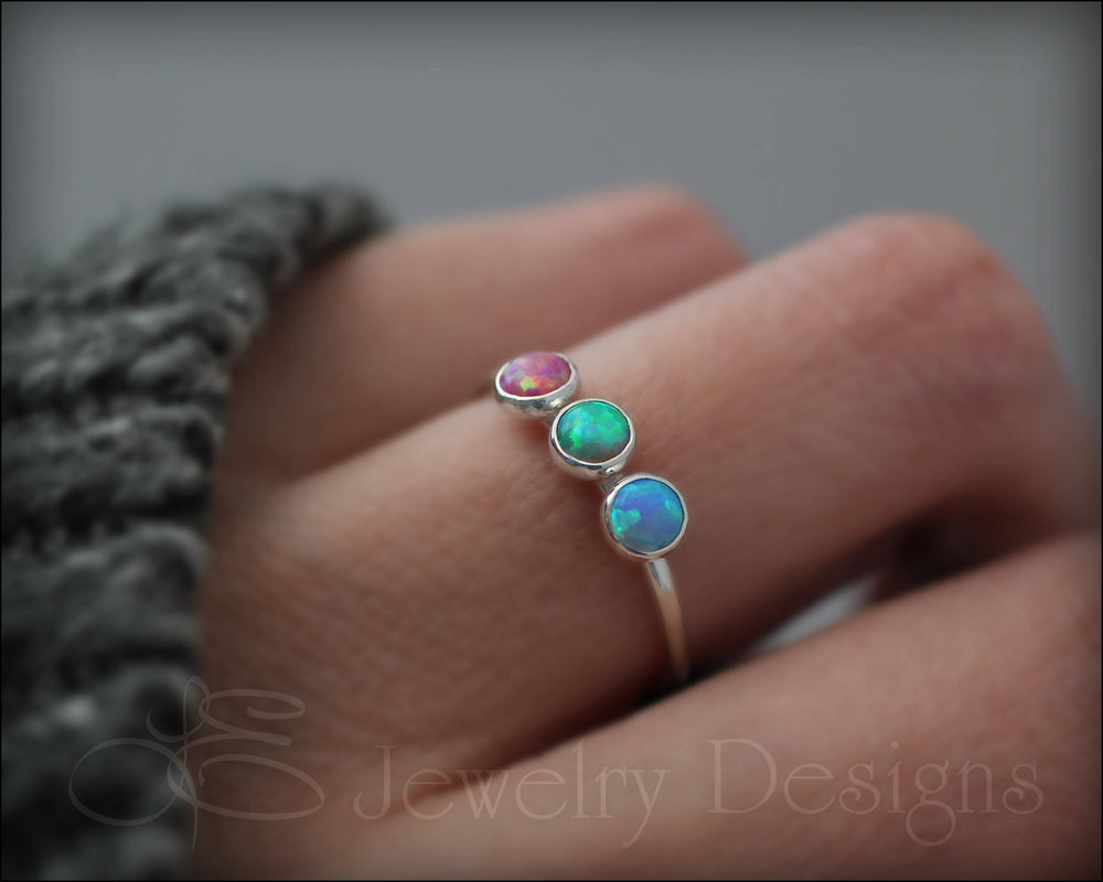 3-Stone Sterling Opal Ring - LE Jewelry Designs