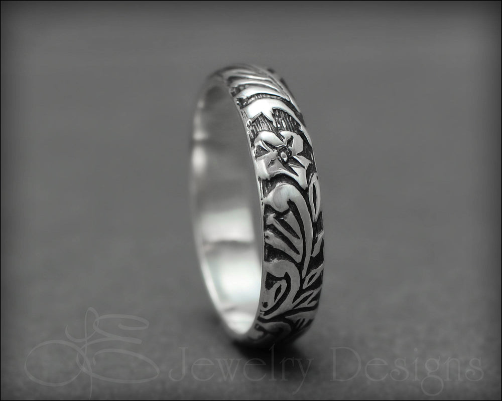Sterling Silver Floral Band - LE Jewelry Designs