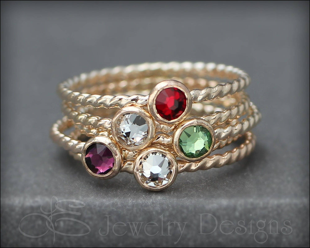 Twisted Birthstone or Opal Ring (silver, gold, rose gold)