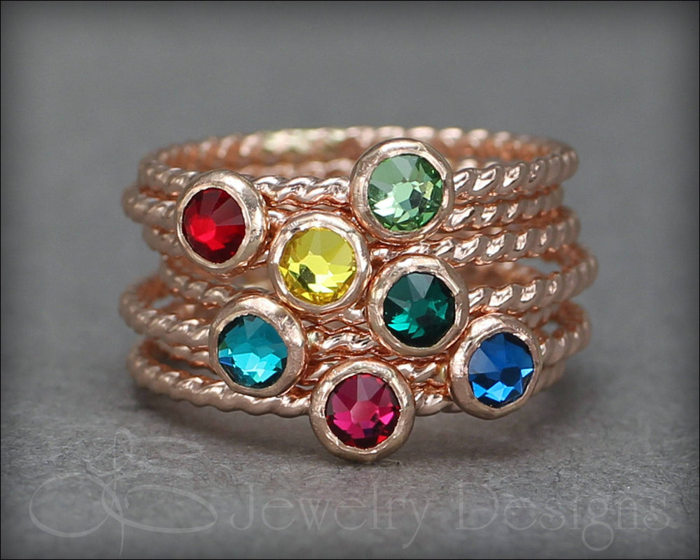 Twisted Birthstone Ring (silver, gold, rose gold) - LE Jewelry Designs