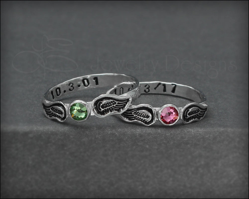 Hand Stamped Angel Wings Birthstone Ring - LE Jewelry Designs
