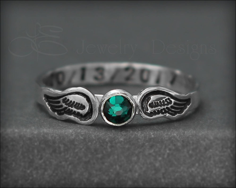 Hand Stamped Angel Wings Birthstone Ring
