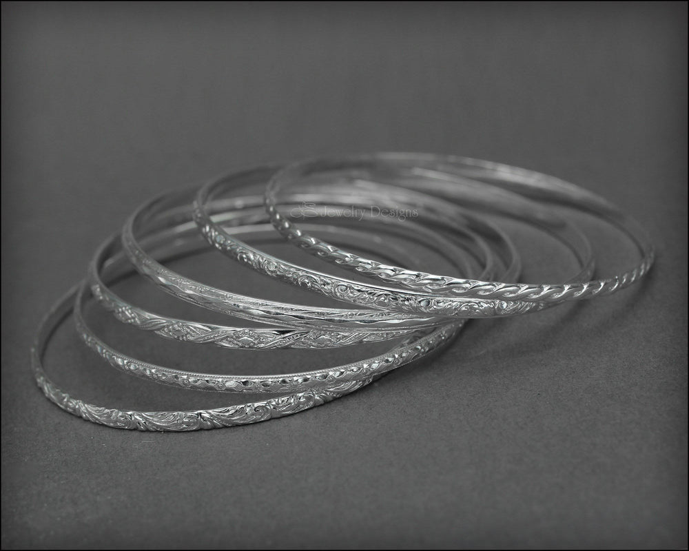 Skinny Sterling Stacking Bangles - LE Jewelry Designs