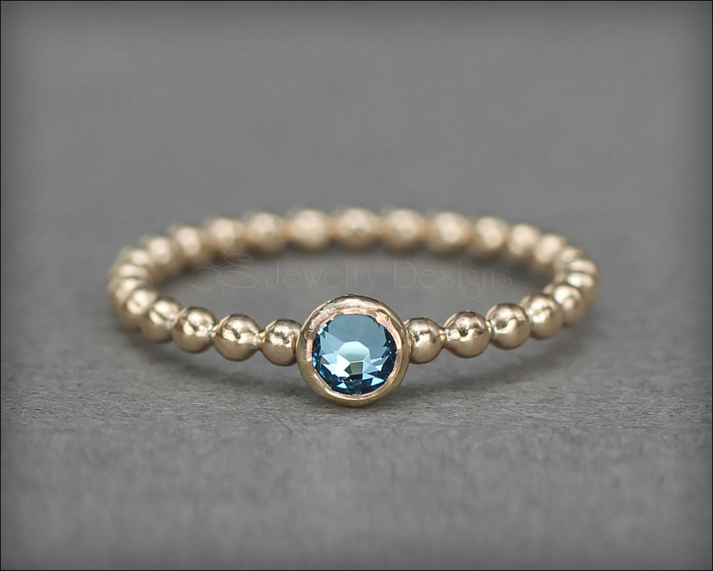 Beaded Birthstone or Opal Ring (silver, gold, rose gold)