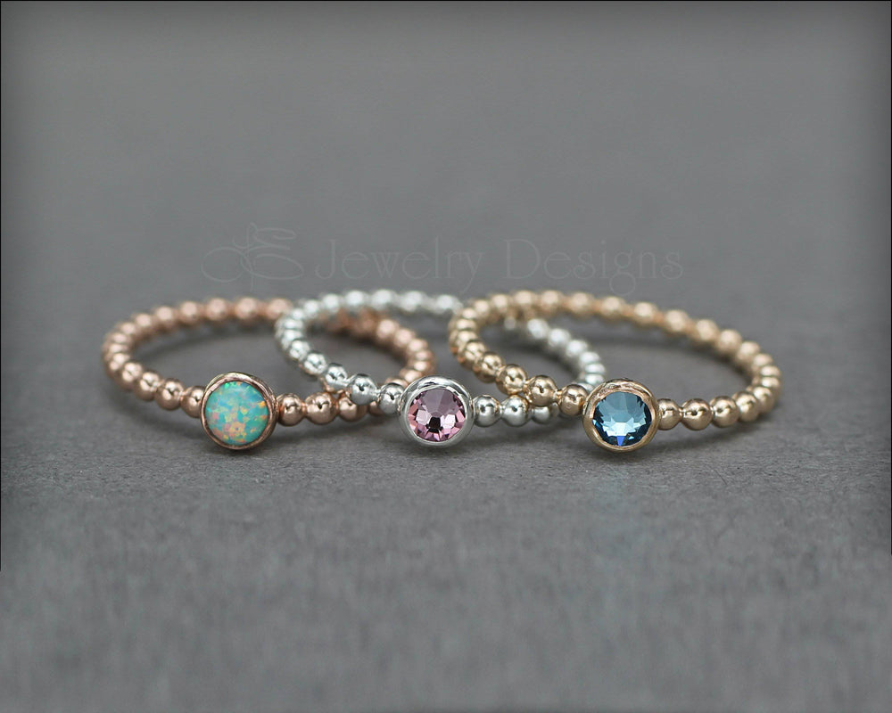 3-Ring Beaded Birthstone or Opal Set