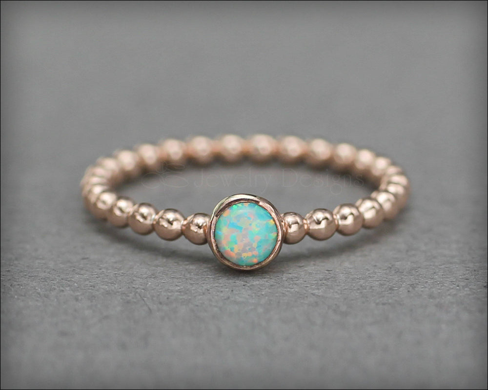 3-Ring Beaded Birthstone or Opal Ring Set