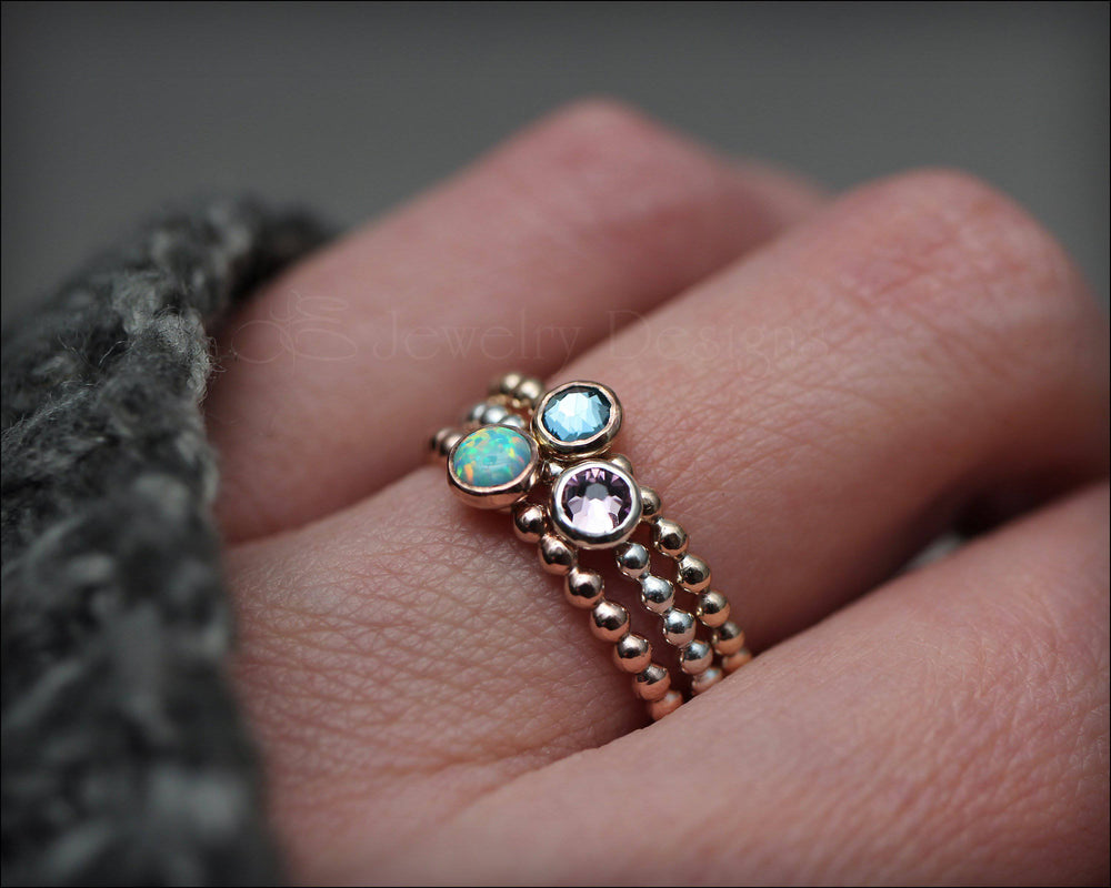 Beaded Birthstone or Opal Ring