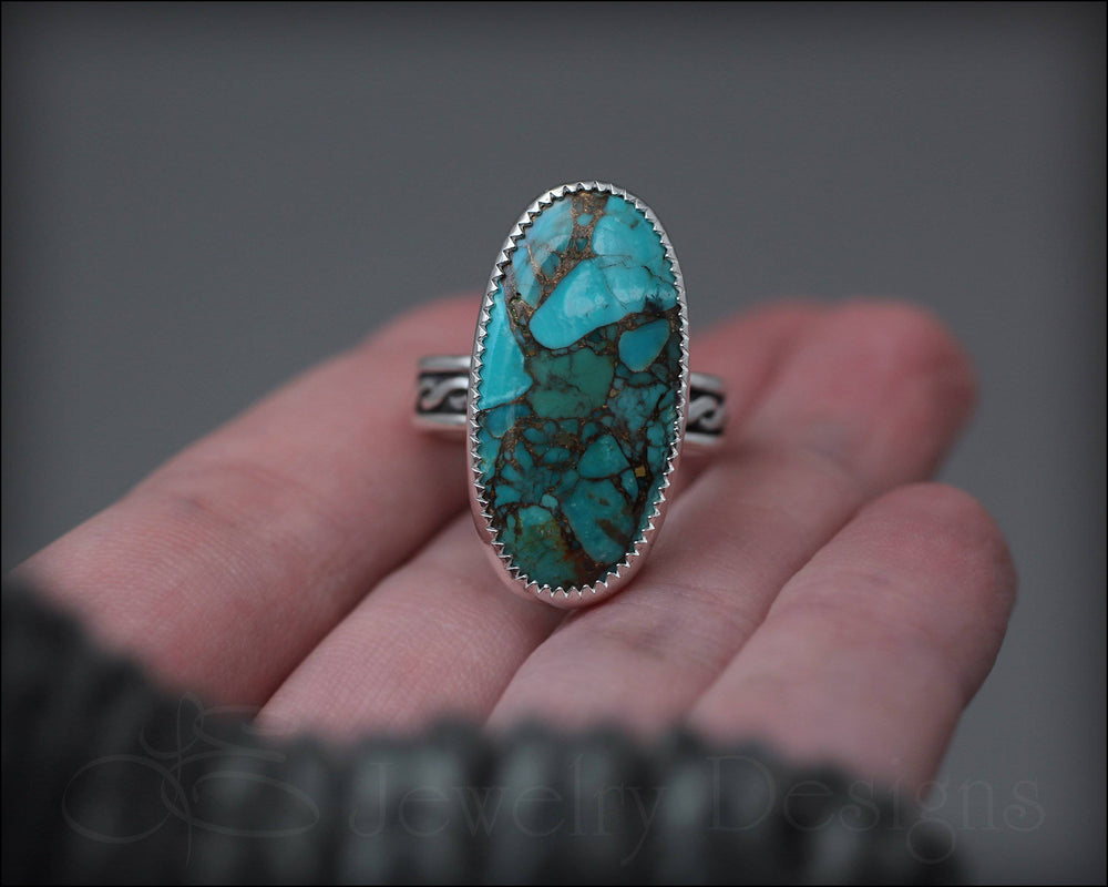 Blue Mohave Turquoise Ring - size 9.5 - LE Jewelry Designs