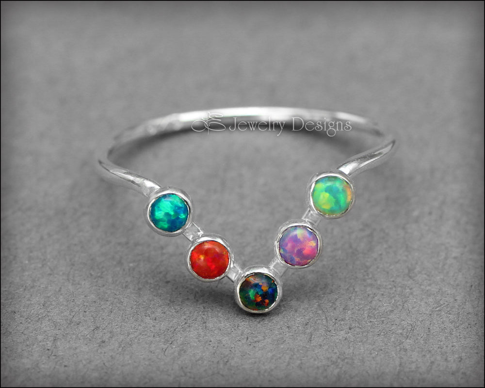Opal Chevron Ring - (choose your color) - LE Jewelry Designs