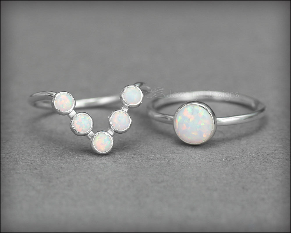 Opal Chevron Ring Set (choose your color) - LE Jewelry Designs