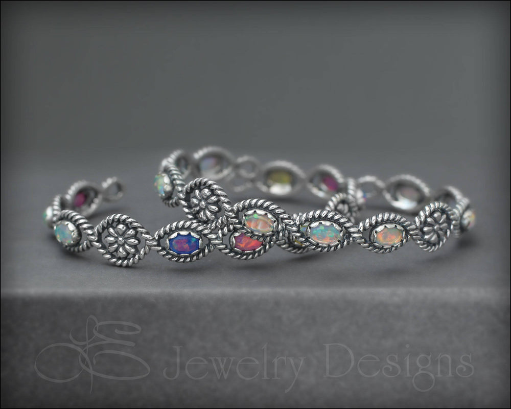 Sterling Floral Opal Cuff