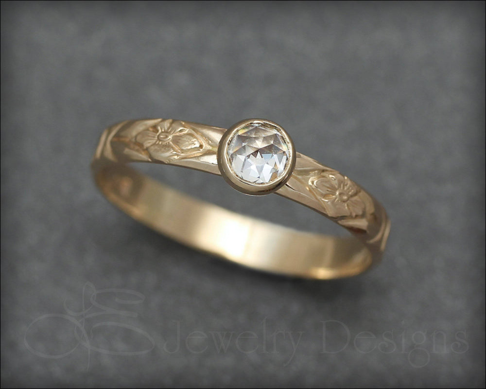14k Gold Engagement Floral Ring