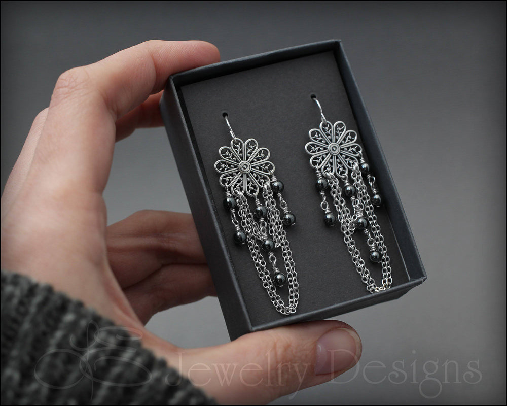 Sterling Filigree Hematite Earrings