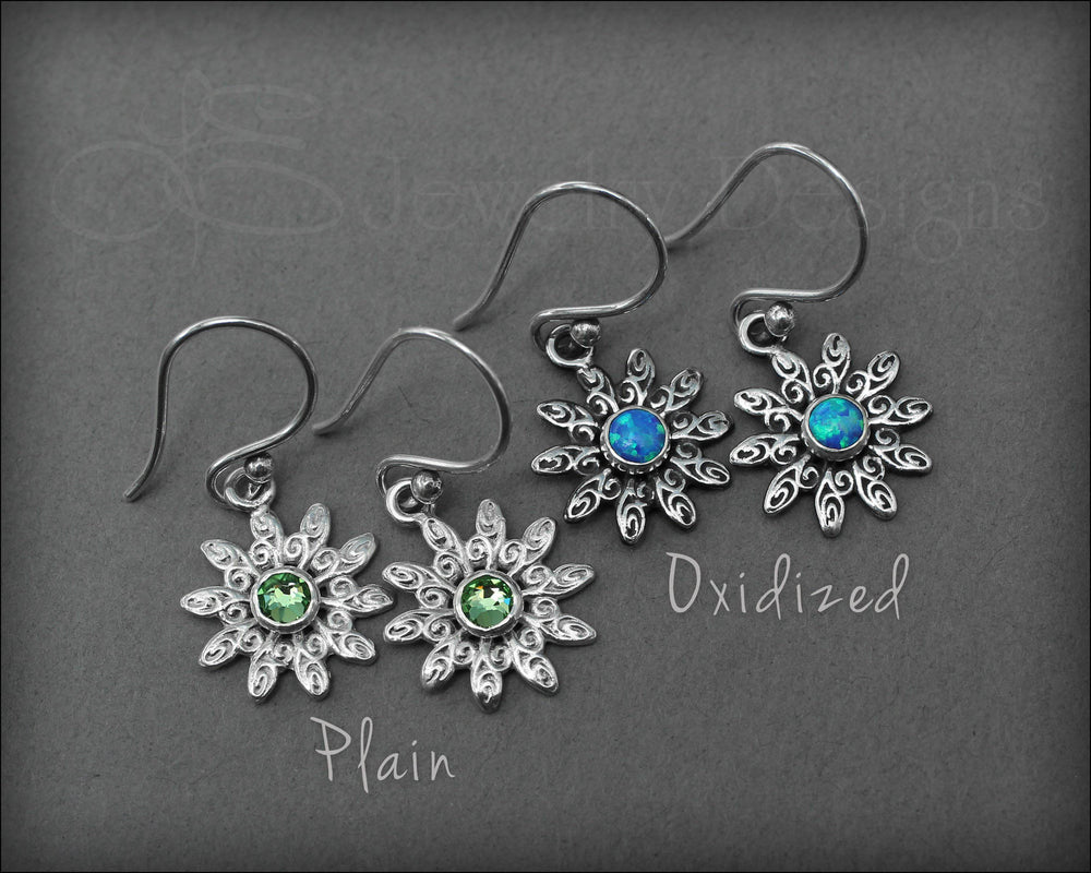 Flower Earrings ( choose opal or birthstone) - LE Jewelry Designs