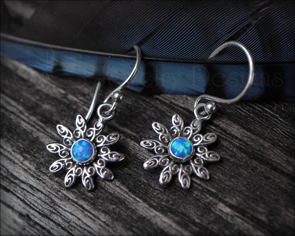 Flower Earrings ( choose opal or birthstone)