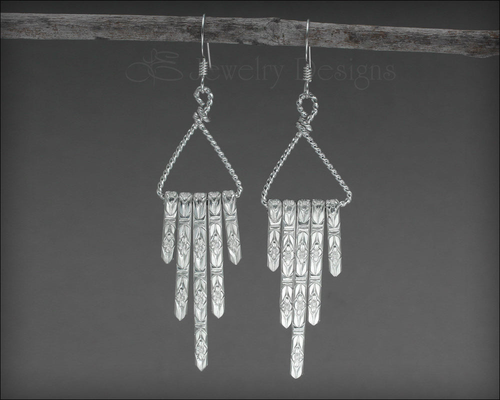 Sterling Floral Fringe Earrings