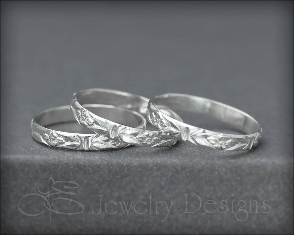 Sterling Floral Band - LE Jewelry Designs