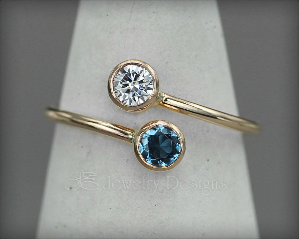 Gold Dual Birthstone or Opal Ring