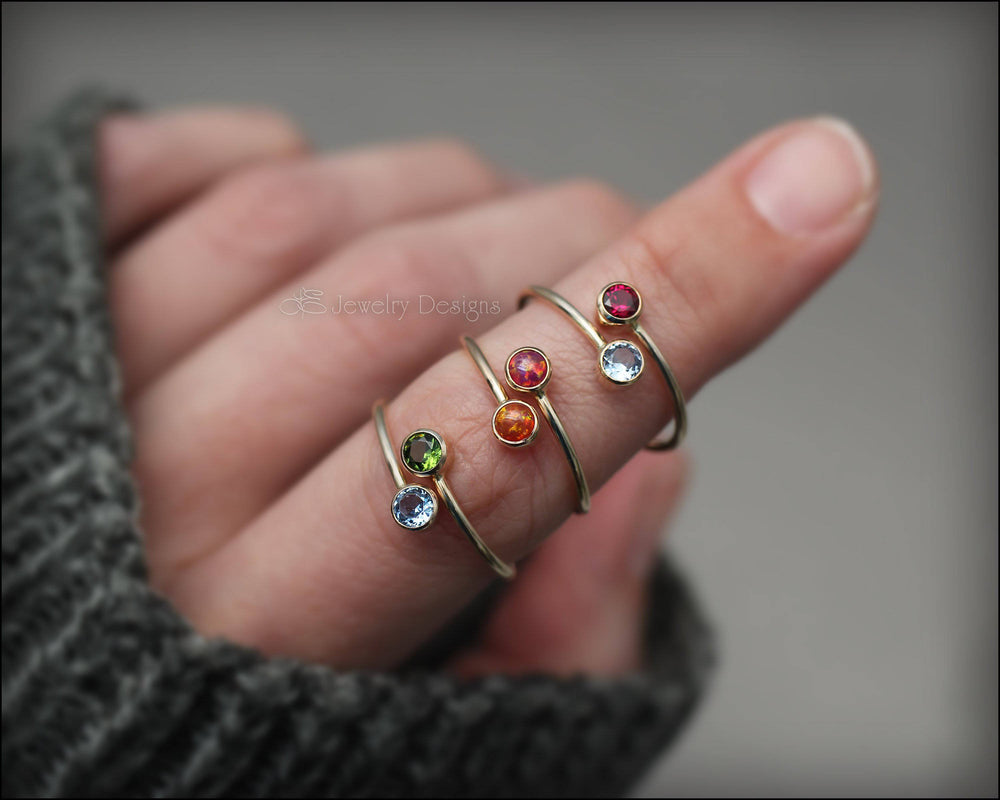 Gold Dual Opal or Birthstone Ring - LE Jewelry Designs