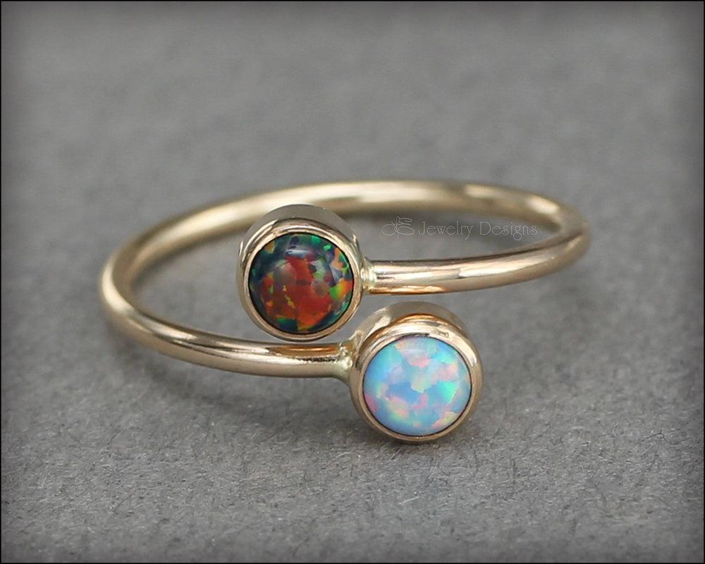 Gold Dual Birthstone or Opal Ring - LE Jewelry Designs