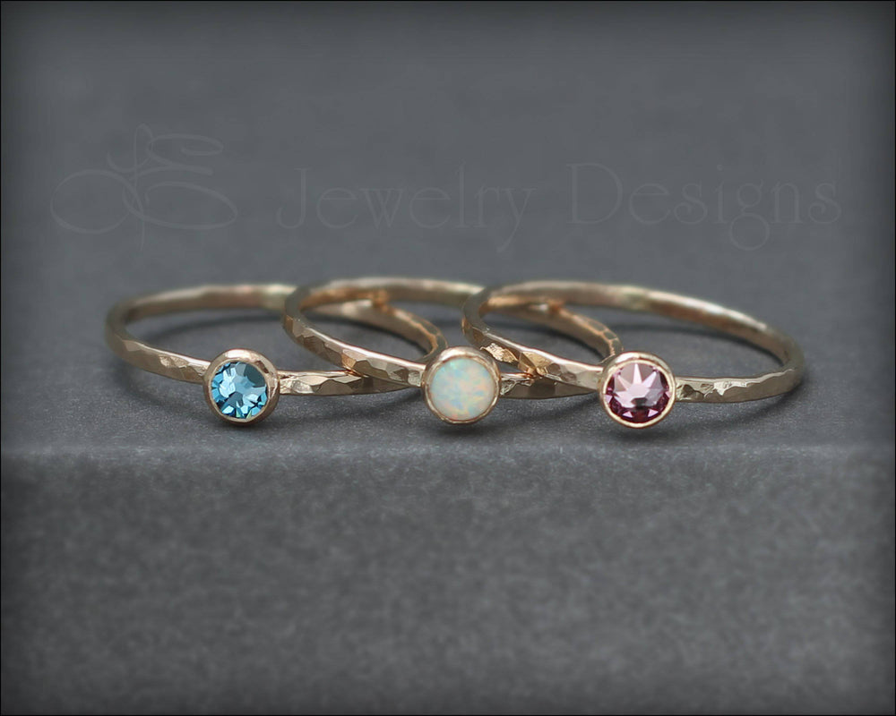 Gold Birthstone or Opal Stacking Ring