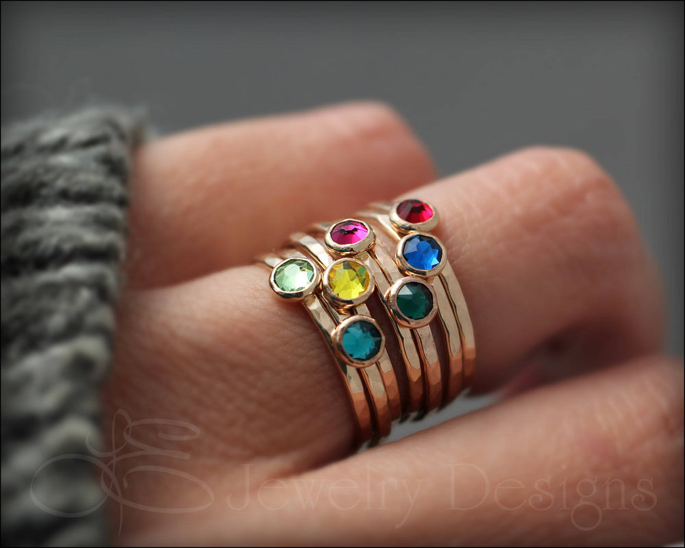 Gold Birthstone or Opal Stacking Ring - LE Jewelry Designs