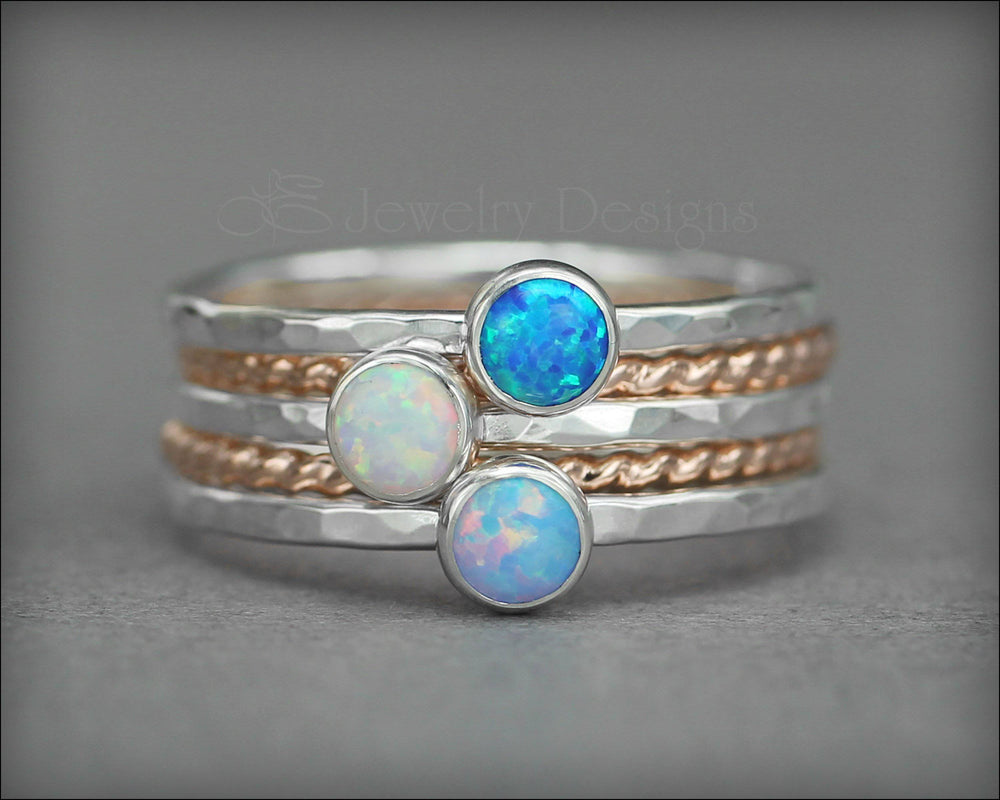 Birthstone Ring Set - (with 3 birthstones) - LE Jewelry Designs