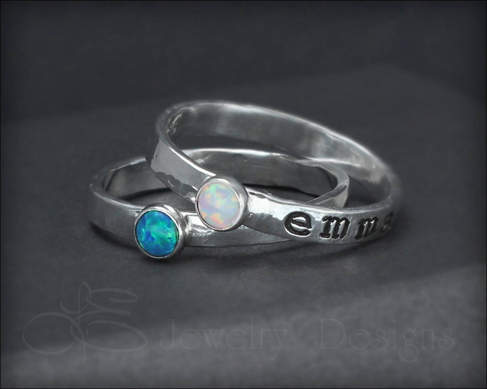 Hand Stamped Opal Stacking Ring