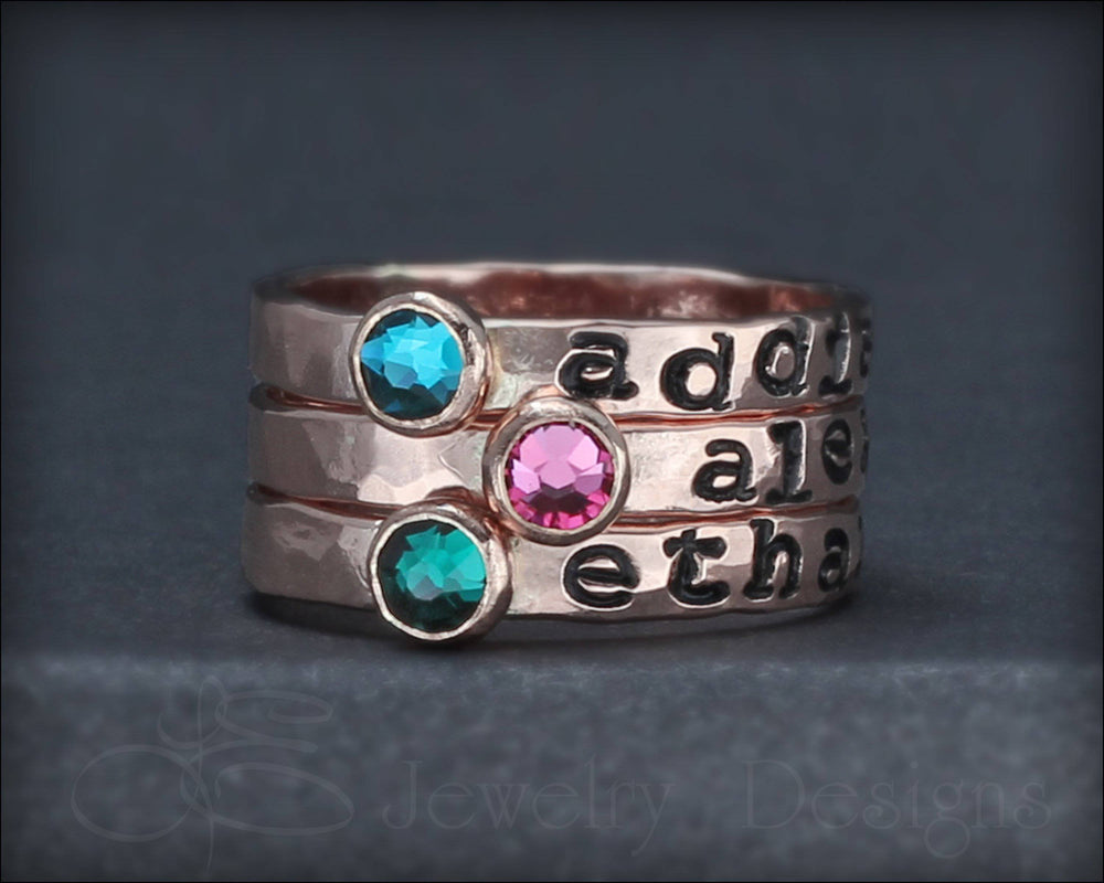 Hand Stamped Birthstone Stacking Ring