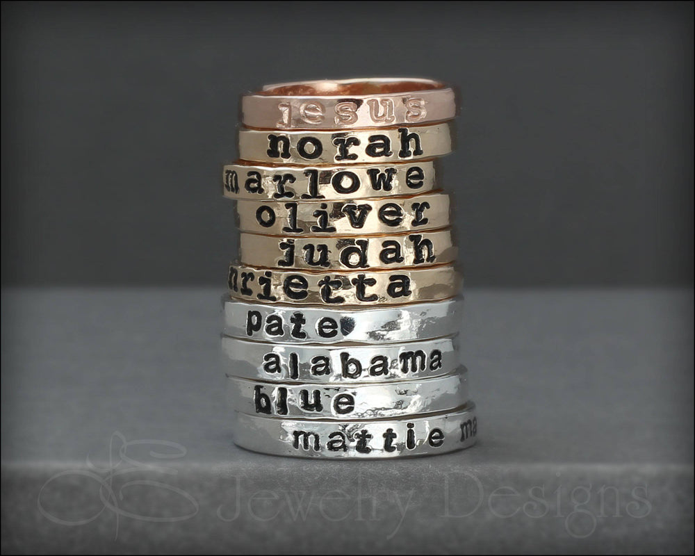 Hand Stamped Name Ring - LE Jewelry Designs