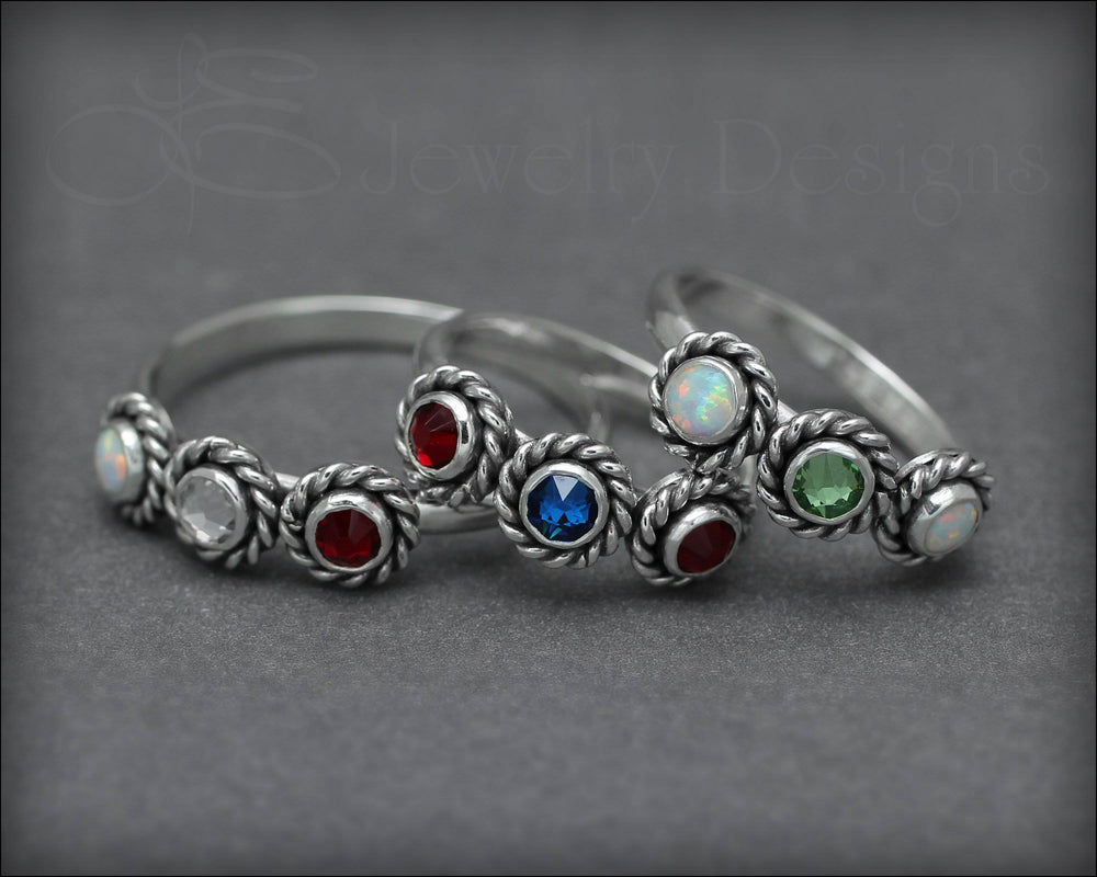 3-Stone Ring (w/birthstones or opals)