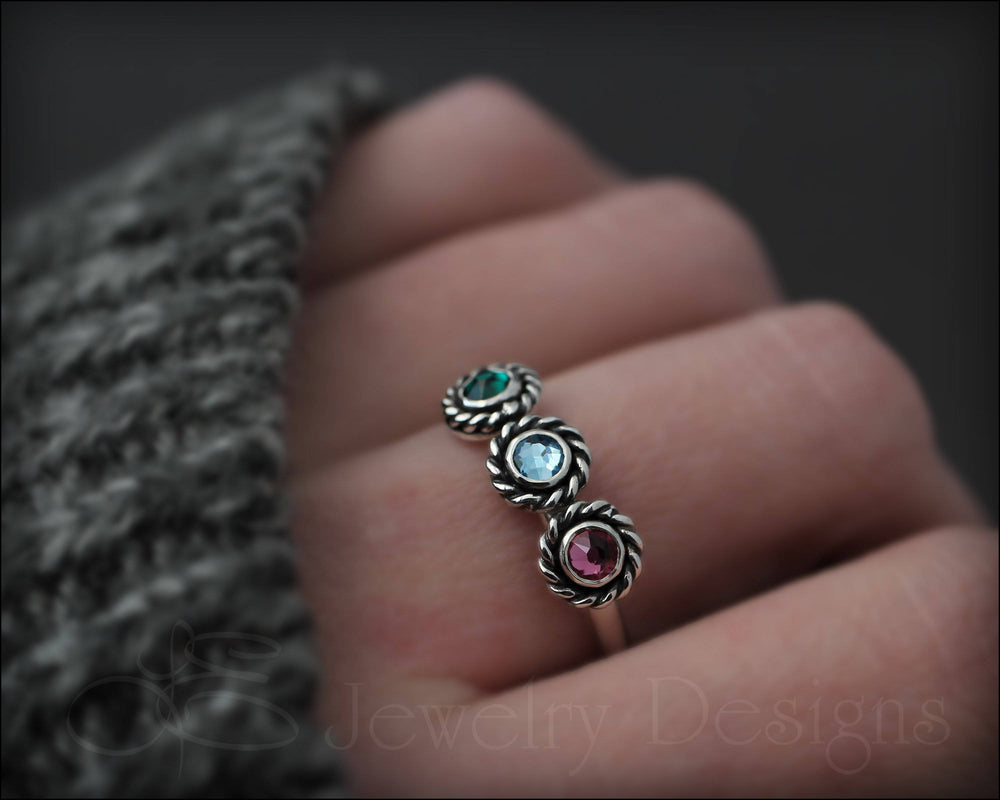3-Stone Ring (w/birthstones or opals) - LE Jewelry Designs
