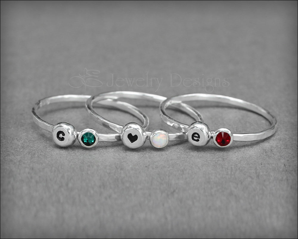 Initial & Birthstone or Opal Ring