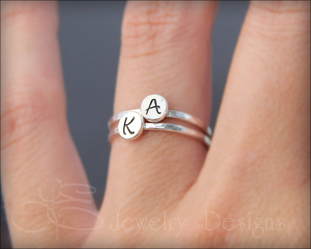 Hand Stamped Initial Ring - LE Jewelry Designs