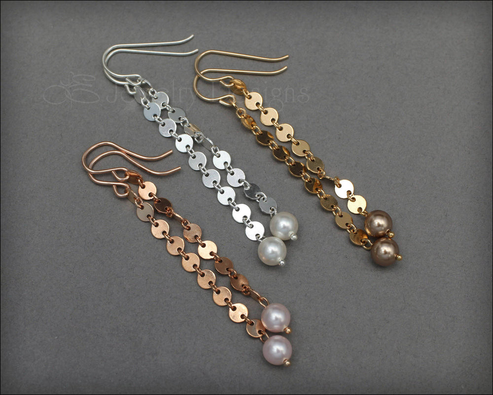 Long Sequin Earrings - (silver, gold, rose gold)