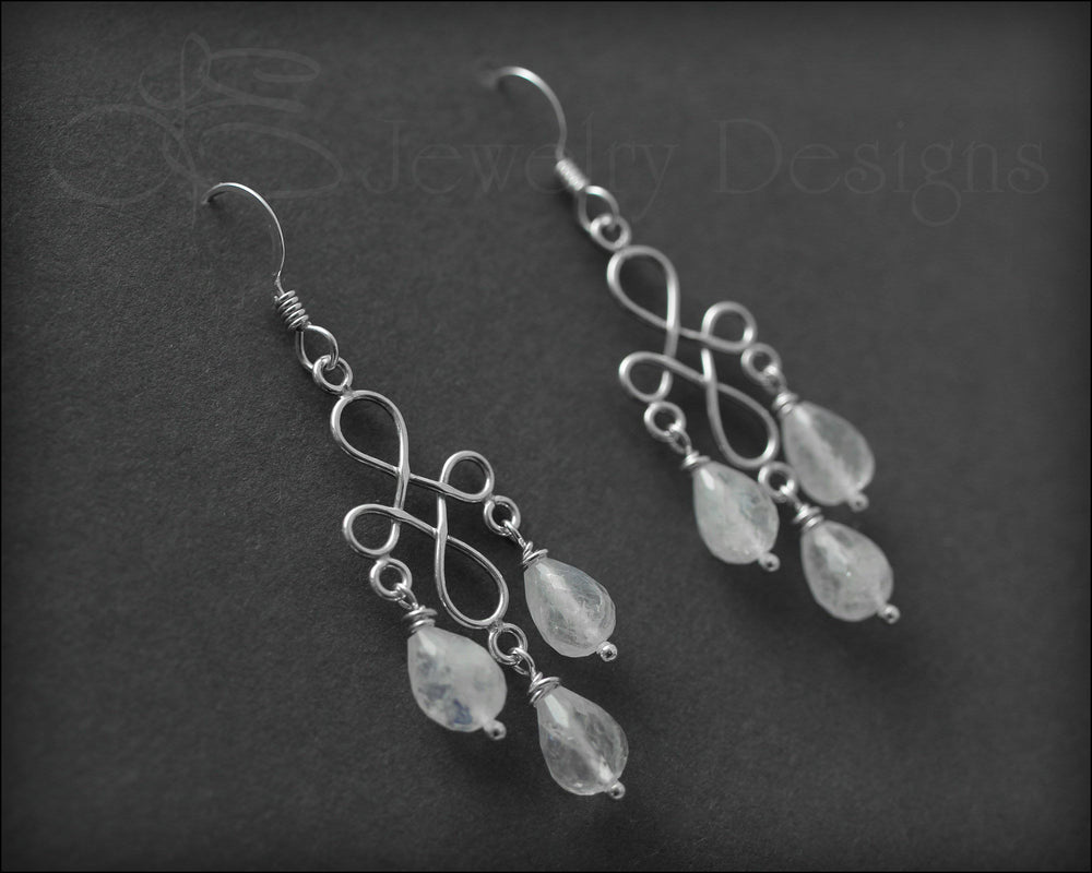 Sterling Moonstone Chandelier Earrings