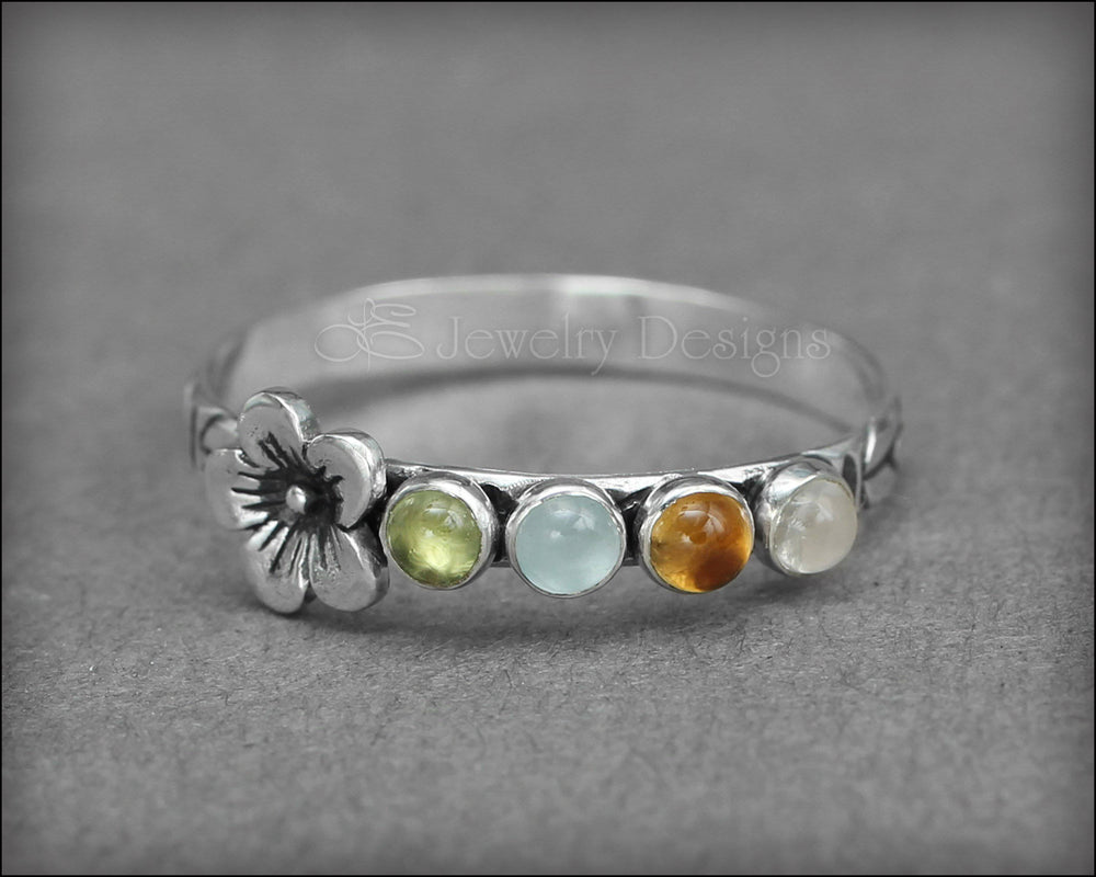 Gemstone Flower Ring - (choose # of stones) - LE Jewelry Designs
