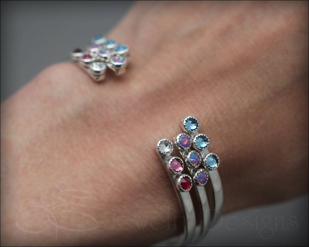 Multi Birthstone or Opal Cuff Bracelet - LE Jewelry Designs