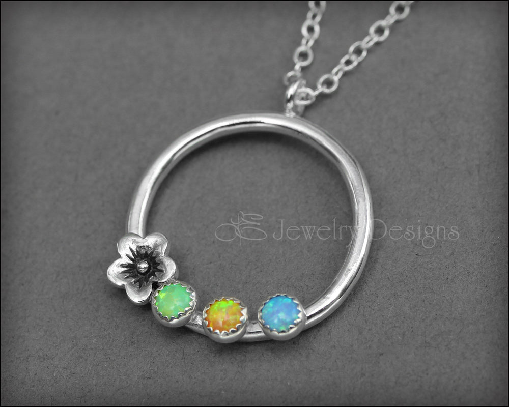 Mother's Birthstone Flower Necklace