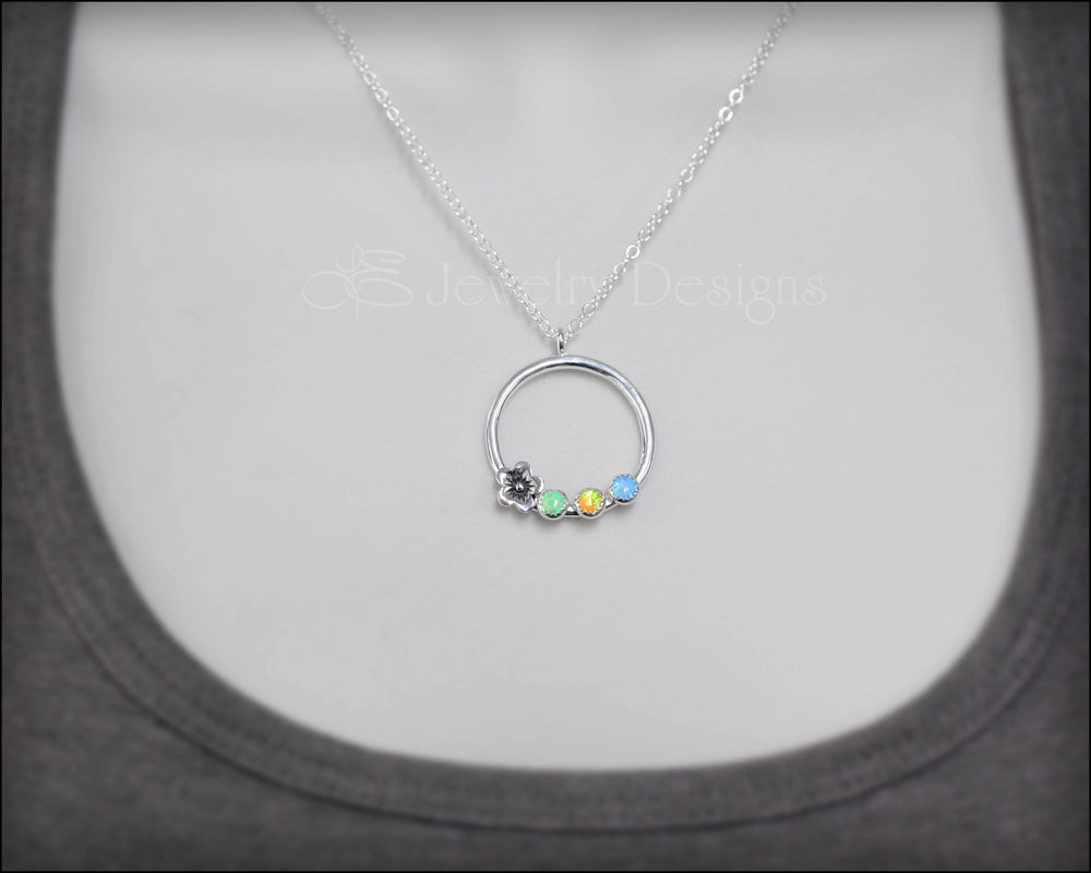 Mother's Birthstone Flower Necklace - LE Jewelry Designs