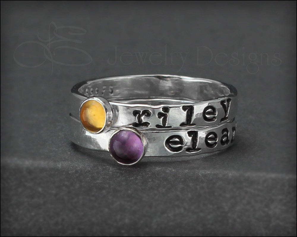 Hand Stamped Gemstone Stacking Ring