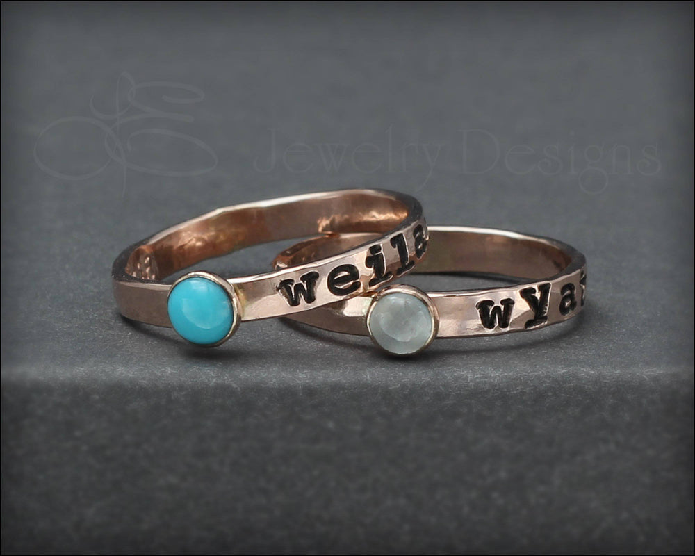 Hand Stamped Gemstone Stacking Ring - LE Jewelry Designs