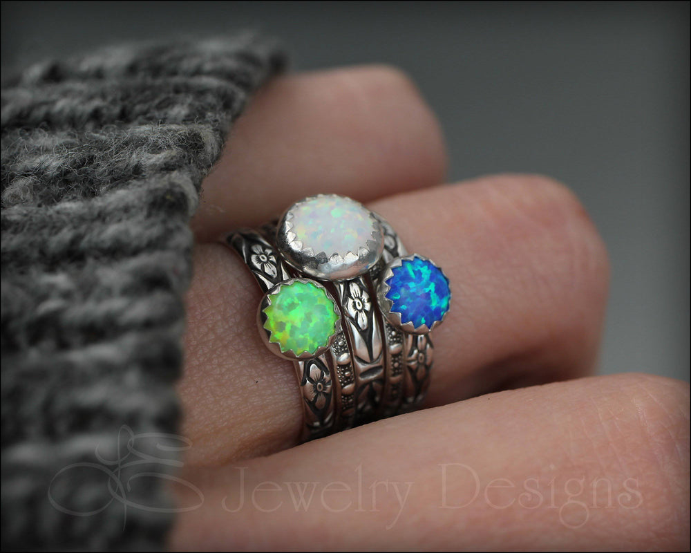 Floral Opal Ring Set (8mm & 6mm opals) - LE Jewelry Designs