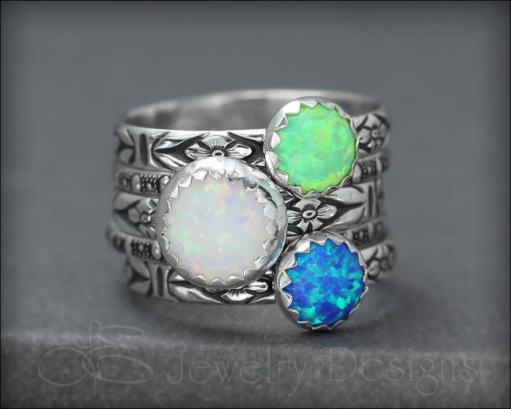 Floral Opal Ring Set (8mm & 6mm opals)