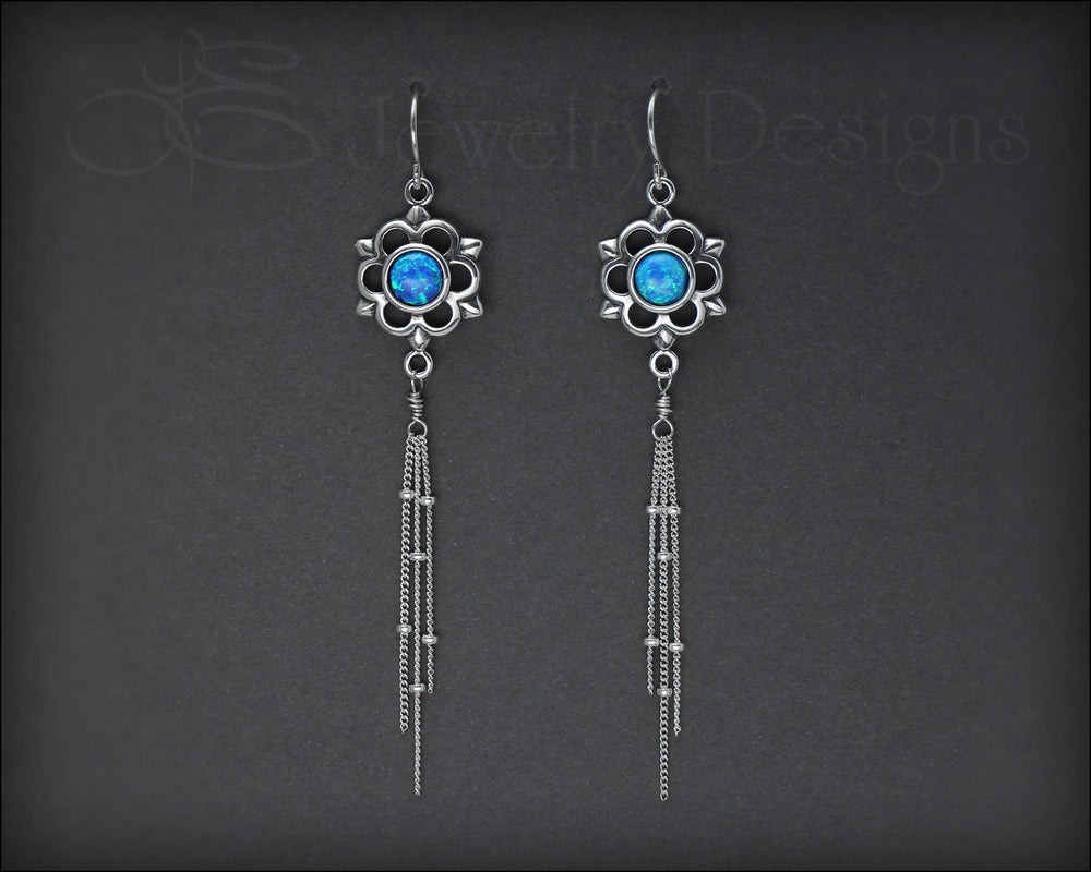 Sterling Flower Opal Earrings - (choose color)
