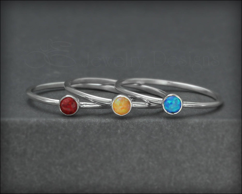 Silver Opal or Birthstone Stacking Ring - LE Jewelry Designs