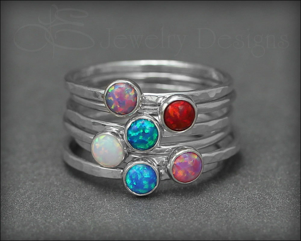 Silver Opal or Birthstone Stacking Ring