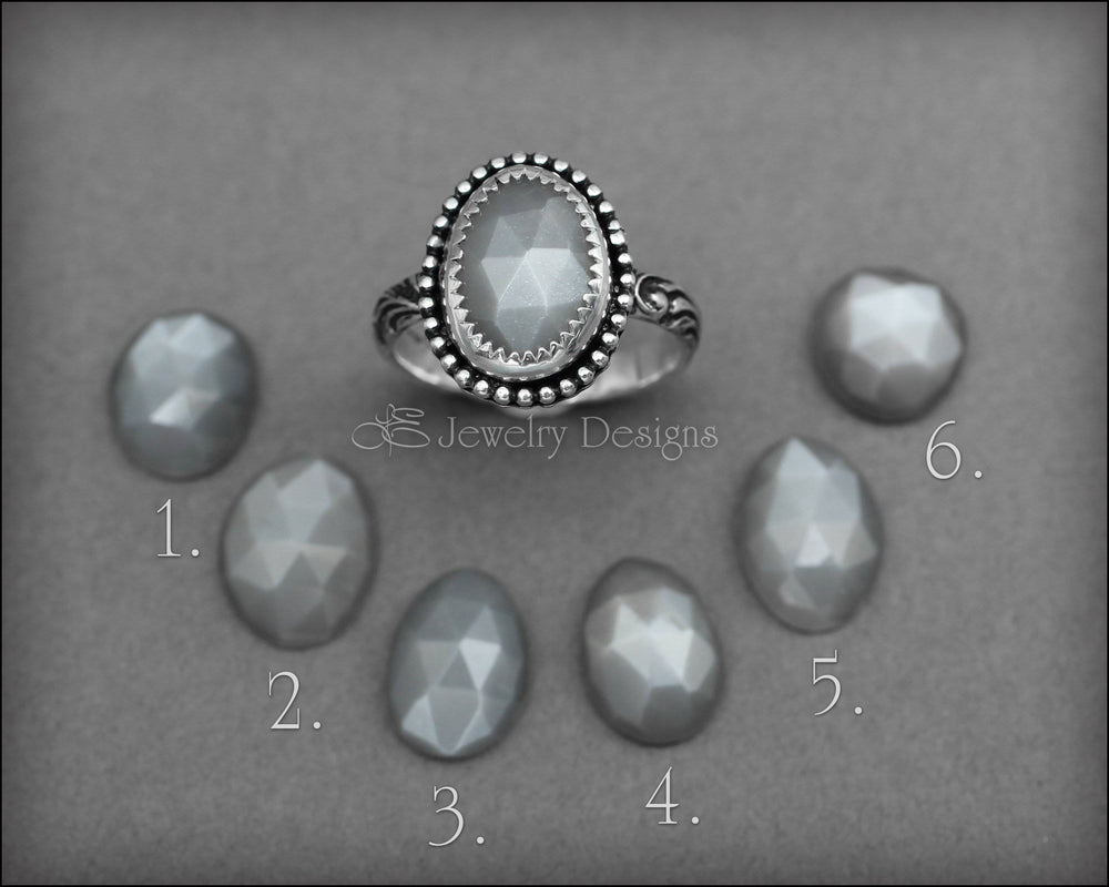Grey Rose Cut Moonstone Ring - LE Jewelry Designs