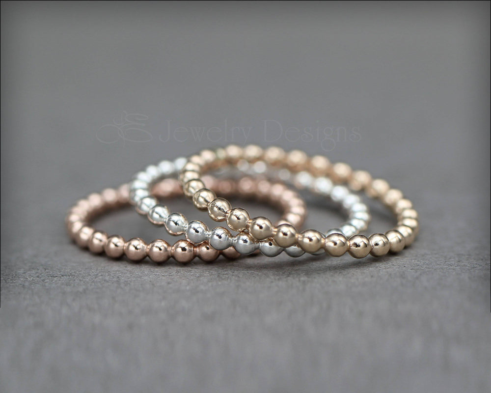 Beaded Stacking Ring - (silver, gold, rose gold)
